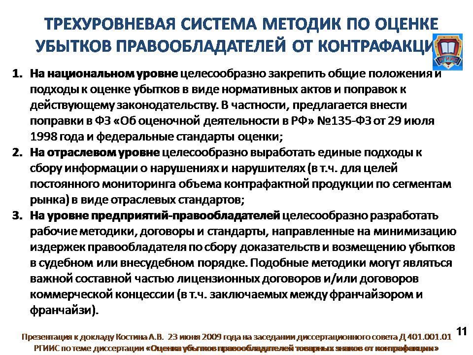 Доклад Костина А В на защите диссертации ОЦЕНКА УБЫТКОВ  Слайд 11